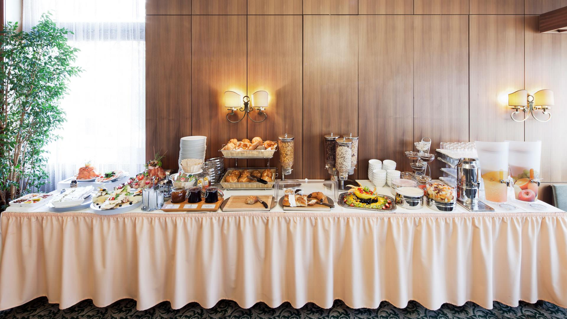 Breakfast buffet in a hotel